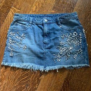 FREE PEOPLE denim skirt with crystal embellishment